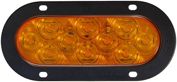 "Peterson 1223A-10 Amber LED FRNT T/S OVAL ECE AMP FLANGED 6.50""X2.25"" MULTI-VOLTAGE"