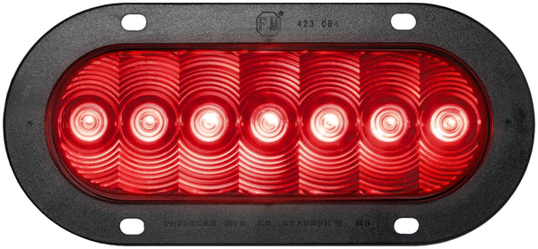 Peterson M822R-7 Red Oval LumenX® LED Stop, Turn & Tail Light, PL3, Flange Mount