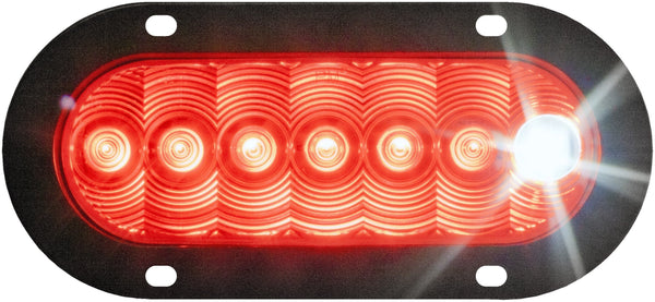 Peterson M881-7P Red Oval LumenX® LED Combo S/T/T & Back-Up Light, Flange Mount w/Plug