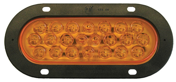 "Peterson M822A-22 Amber 6"" Oval Piranha® LED Park & Turn Light, Flange Mount"