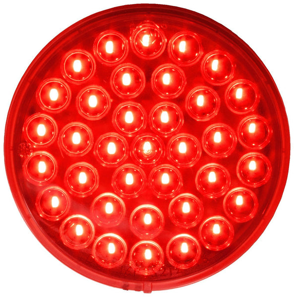 "Peterson M817R-36 Red 4"" Round Piranha® LED Stop, Turn & Tail Light, AMP, Grommet Mount"