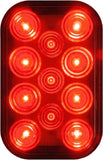 Peterson 850R-1 Red Rectangular LED Rear Stop and Tail Light w/Stripped Wires
