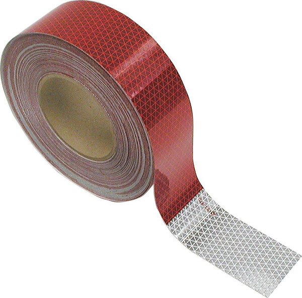 "Peterson 465-1 Red/White 2"" Wide Reflective Marking Tape 600 CP 150"" Roll"