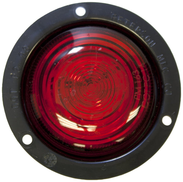 "Peterson M199FR Red 2"" Round LumenX® PC-Rated LED Clearance & Side Marker Light, Flange"