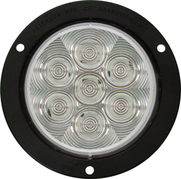 "Peterson V824KC-7 Clear 4"" Round LumenX® LED Back-Up Light Kit, PL3, Flange Mount"