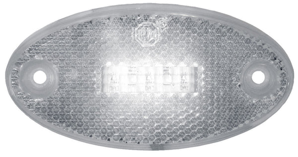 "Peterson 1200C Clear Oval Side Marker/Outline Lights w/ Reflex 3.94""X1.97"" MULTI-VOLTAGE - Levine Auto and Truck Lighting"