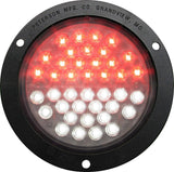 "Peterson 1218F-C LED REAR FOG & REV ROUND ECE RED/WHITE FLANGED MOUNT 4"" MULTI-VOLTAGE - Levine Auto and Truck Lighting"