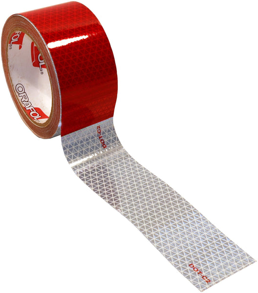 "Peterson 463-1 Red/White 2"" Wide Reflective Marking Tape 600 CP 30' Roll"