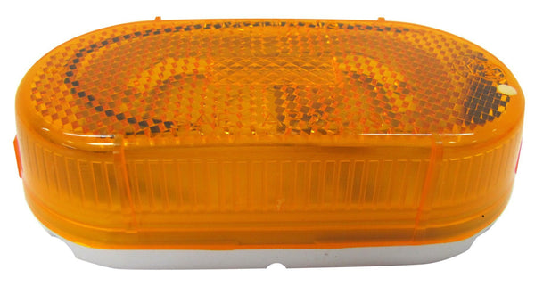 "Peterson 108WA Amber INCANDESCENT MARKER & CLEARANCE P2 OBLONG W/ REFLECT LENS 4.07""X2.04"" - Levine Auto and Truck Lighting"