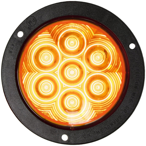 "Peterson 824A-7 Amber LumenX® 4"" Round LED Front & Rear Turn Signal, PL3 Flange Mount"