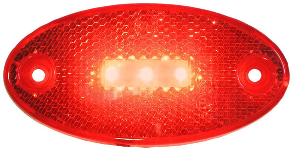 "Peterson 1200R Red Oval Side Marker/Outline Lights w/ Reflex 3.94""x1.97"" MULTI-VOLTAGE - Levine Auto and Truck Lighting"