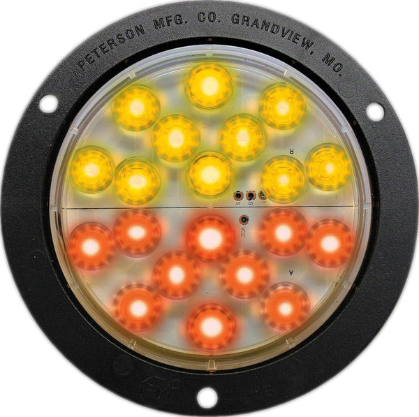 "Peterson 1218A-R LED STOP /TURN /TAIL LIGHT ROUND ECE FLANGED MOUNT 2M LDS 4"" MULTI-VOLTAGE - Levine Auto and Truck Lighting"