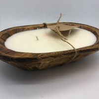 Handcrafted Wood Bread Bowl Candles
