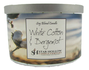 Large Silver Lid Jar White Cotton & Bergamot