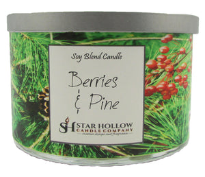 Large Silver Lid Jar Berries & Pine