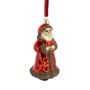 Glass Santa Ornament with Glass Glitter