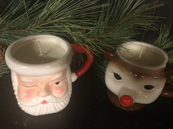 Vintage inspired candle mugs Santa and Rudolph