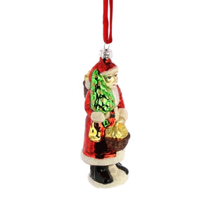Glass Santa Ornament with Basket