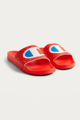 Buy Champion Champion Red Logo Pool Sliders - Mens M Urban Outfitters EU online now at Soleheaven Curated Collections