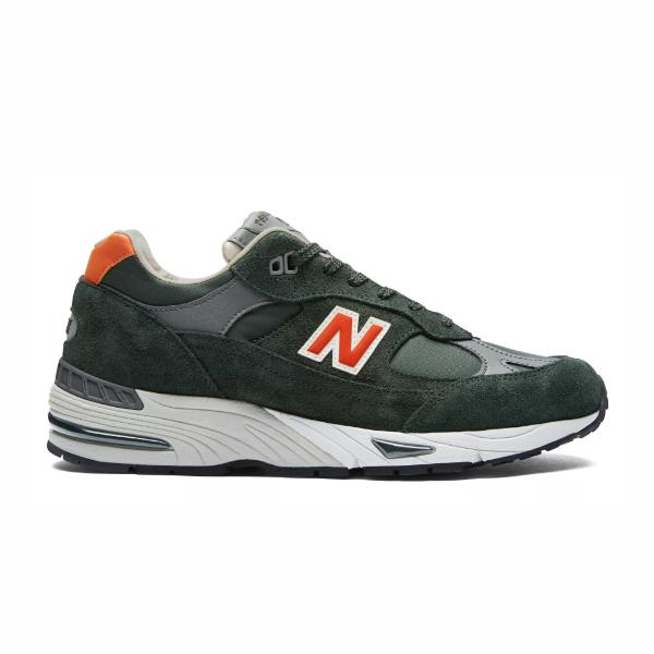 new balance trainers retro trainers New Balance 991 Made in UK 'Forest Green / Orange' SOLEHEAVEN