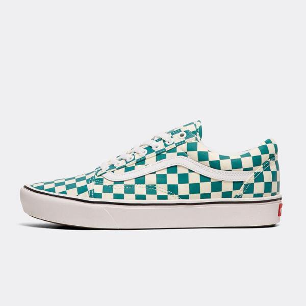 vans old skool checkerboard green