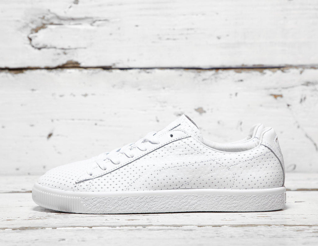 Puma Mens PUMA x Trapstar Clyde Perforated - White, White SOLEHEAVEN