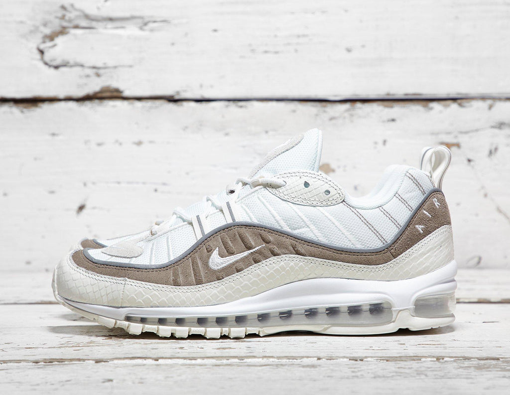 Nike Mens Nike Air Max 98 - White/Brown, White/Brown SOLEHEAVEN