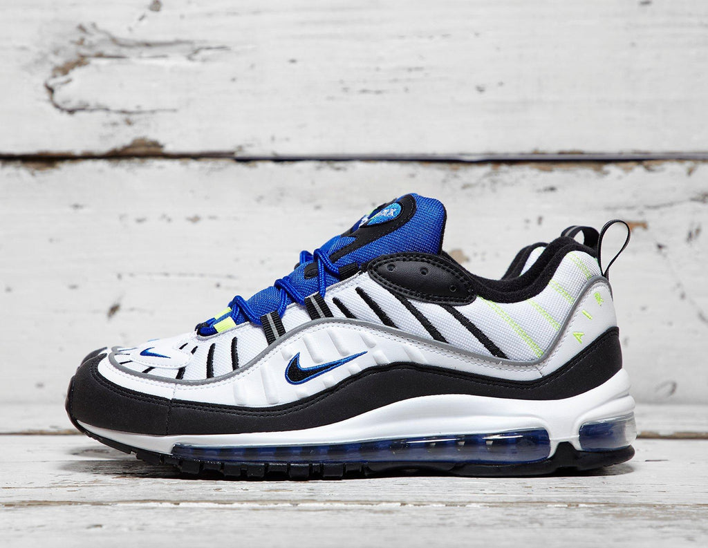Buy Nike Mens Nike Air Max 98 - White/Blue, White/Blue Footpatrol online now at Soleheaven Curated Collections
