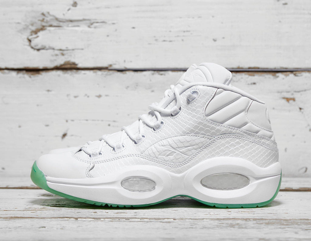 Reebok Mens Reebok Question Mid - White/Green, White/Green SOLEHEAVEN