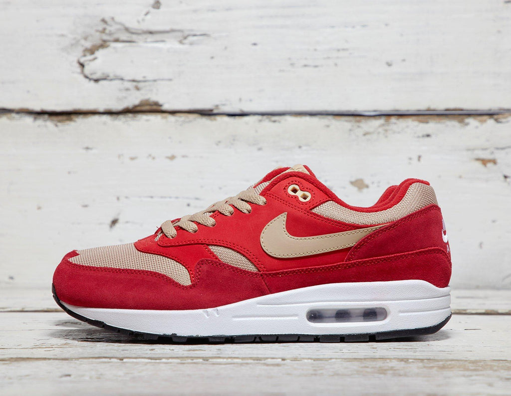 Buy Nike Mens Nike Air Max 1 Premium QS - Red/Tan, Red/Tan Footpatrol online now at Soleheaven Curated Collections