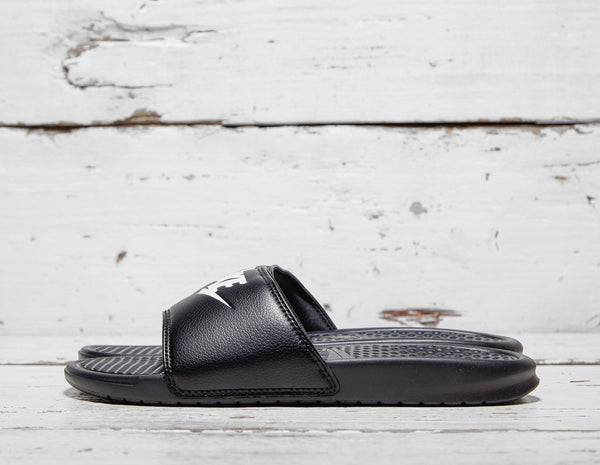 Nike Mens Nike Benassi Just Do It Slides - Black, Black SOLEHEAVEN