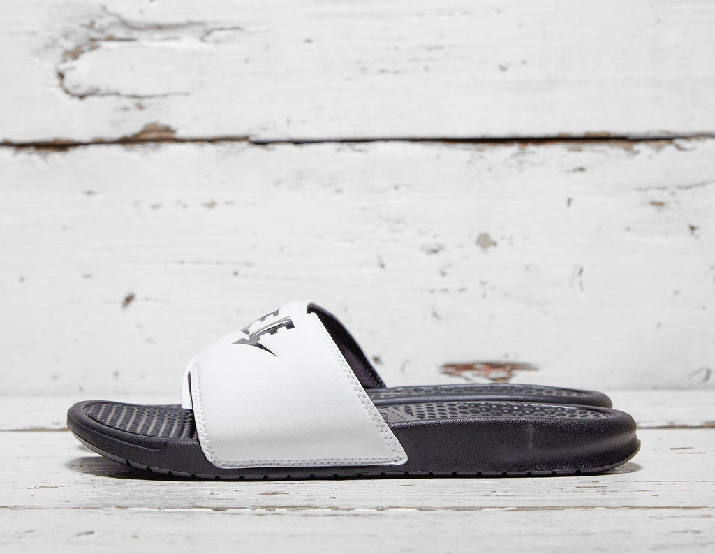 Buy Nike Mens Nike Benassi Just Do It Slides - White/Black, White/Black Footpatrol online now at Soleheaven Curated Collections