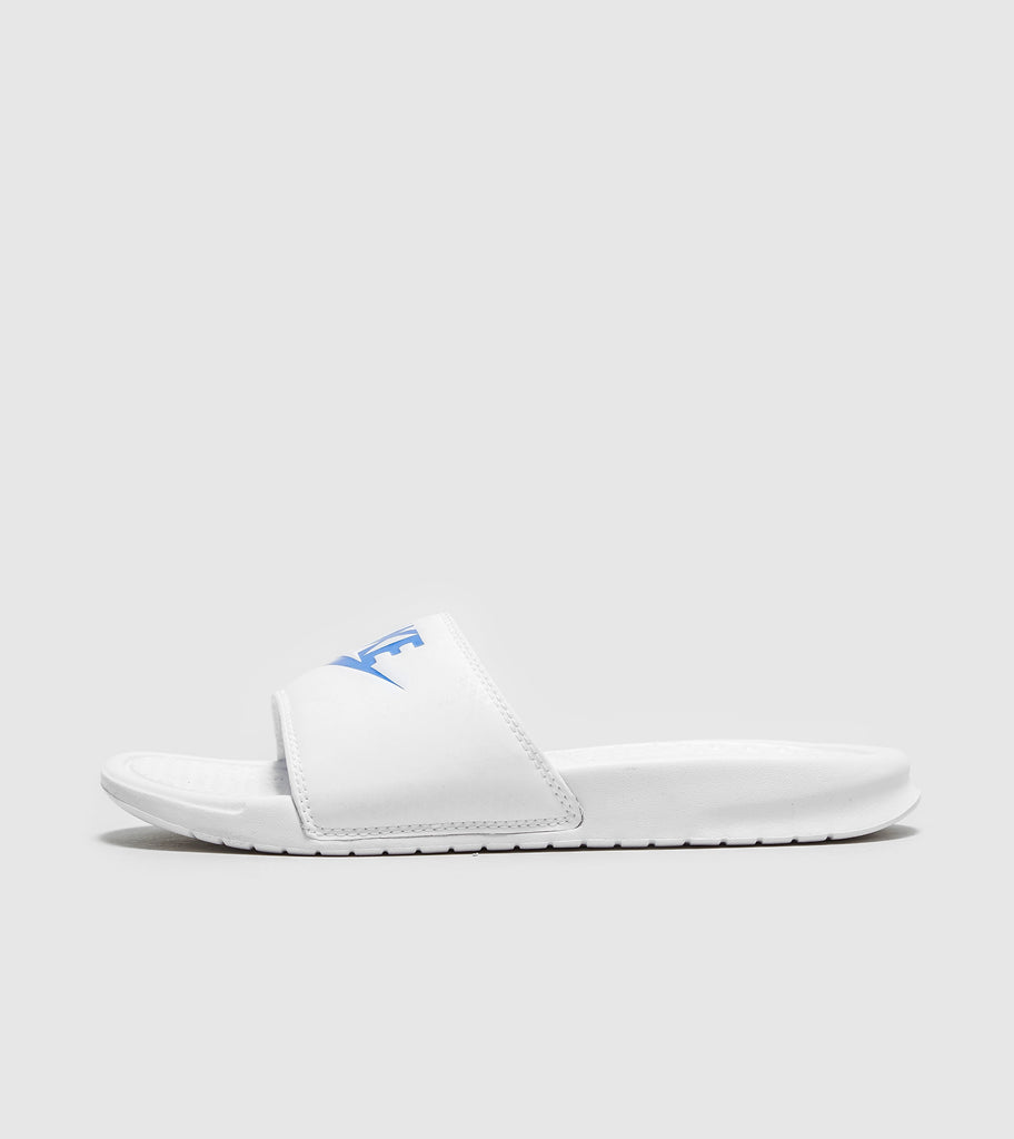 Buy Nike Nike Benassi Just Do It Slides, White/Royal Blue size? online now at Soleheaven Curated Collections