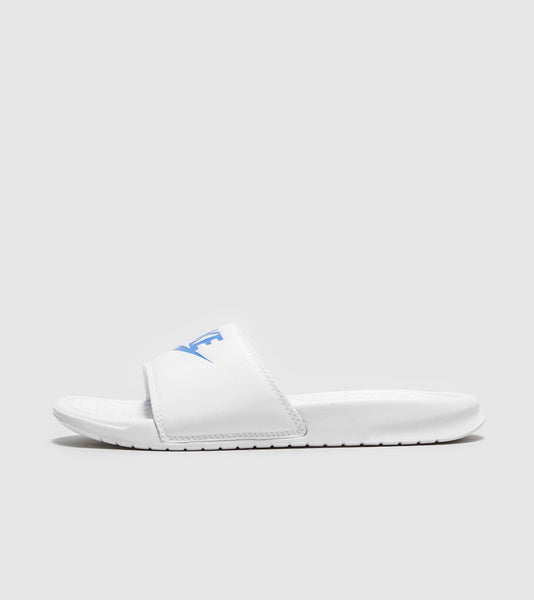 Nike Nike Benassi Just Do It Slides, White/Royal Blue SOLEHEAVEN