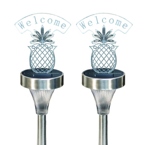 Pineapple Welcome Solar Plaque Light (2 pc set)