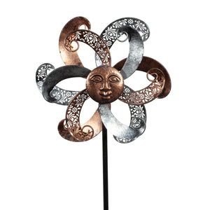 Illuminarie Filigree Sun Face Dual Motion Windwheel Bronze Pewter