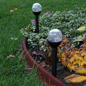 LunaLite™ Crackle Globe Solar Light (Black) (2 pc set)