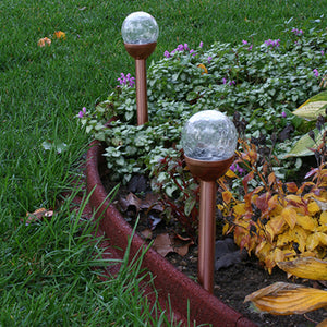 LunaLite™ Crackle Globe Solar Light (Copper) (2 pc set)