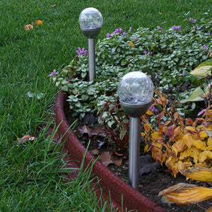 LunaLite™ Crackle Globe Solar Light (2 pc set)