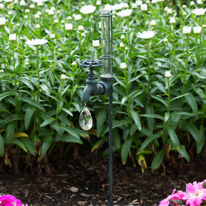 Faucet Rain Gauge Stake w/ Gem - Antique Green