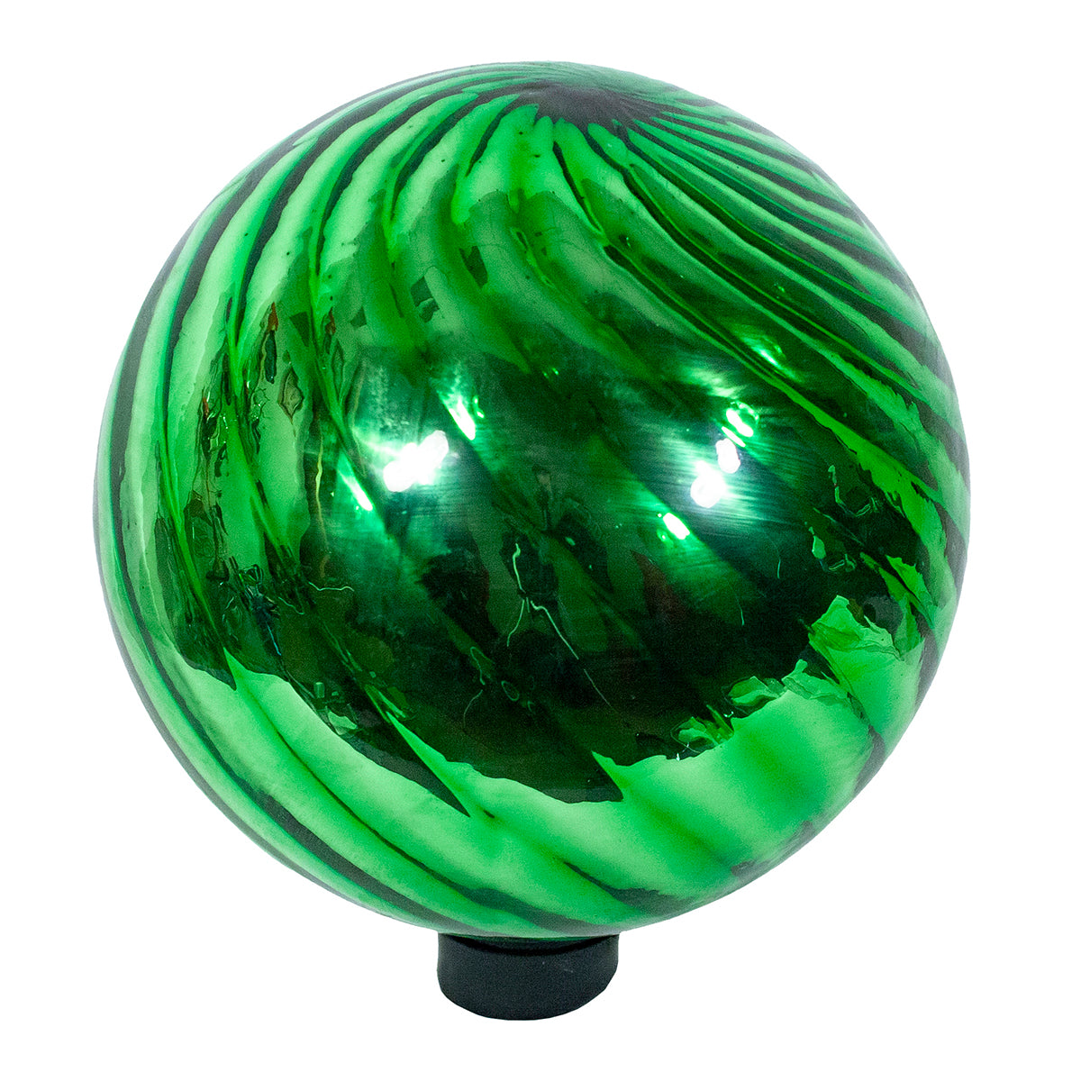 "10"" Green Chrome Swirl Gazing Globe"