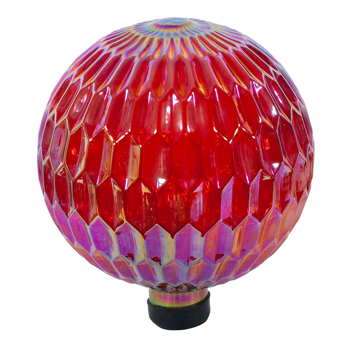 "10"" Translucent Red Diamond Embossed Gazing Globe"
