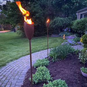 EchoFlame Hammered Garden Torch (Set of 2)