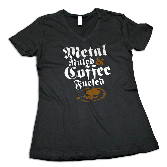 Women's Metal Ruled & Coffee Fueled V-Neck Shirt