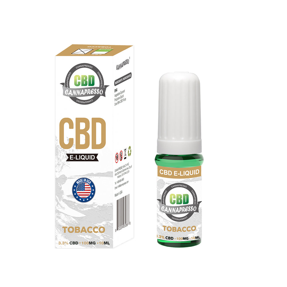 Cannapresso CBD Vape Eliquid | Full Spectrum | 10ml | Tobacco | 100mg 300mg 500mg 1000mg