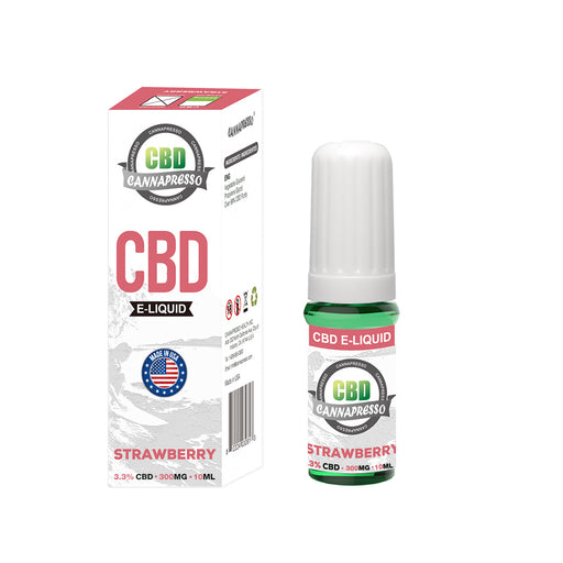 Cannapresso CBD Vape Eliquid | Full Spectrum | 10ml | Strawberry | 300mg 500mg 1000mg