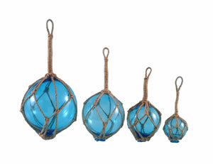 Set of 4 glass floats, perfect nautical gift or decoration for any room