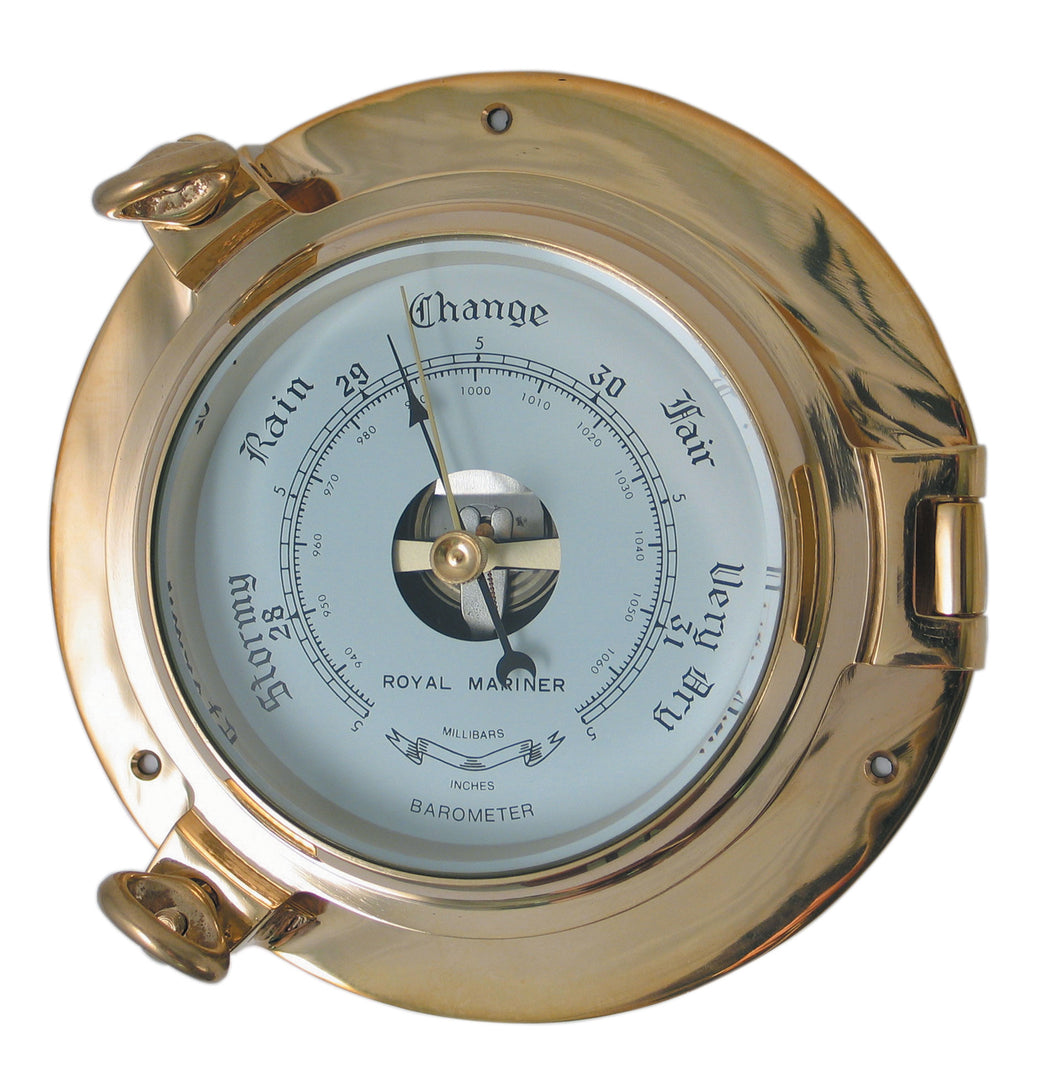 Traditional Authentic Porthole Barometer, hinged bezel, solid brass construction