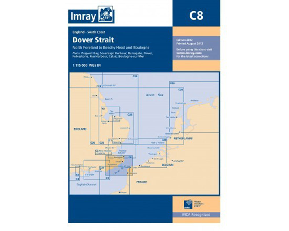 C8 Dover Strait Chart- North Foreland to Beachy Head and Boulogne Imray.
