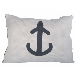 White with Navy Anchor Cushion - by Batela